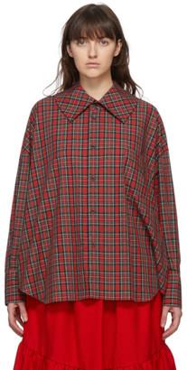 COMME DES GARÇONS GIRL Red Tartan Square Collar Shirt