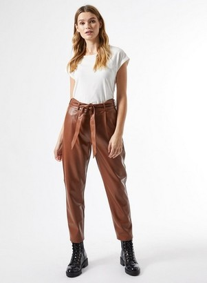 Dorothy Perkins Womens Tan Pu Belted Trousers