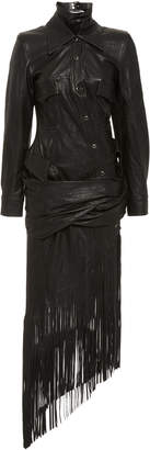 Alexander Wang Fringed Asymmetric Leather Dress