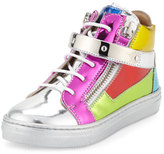 Giuseppe Zanotti Shooting Metallic Mid-Top Leather Sneaker, Multicolor, Youth