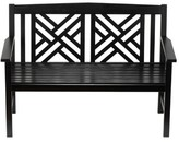 The Well Appointed House Fretwork Outdoor Wooden Bench in Black