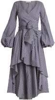 Caroline Constas Lena waterfall-hem gingham-checked cotton dress