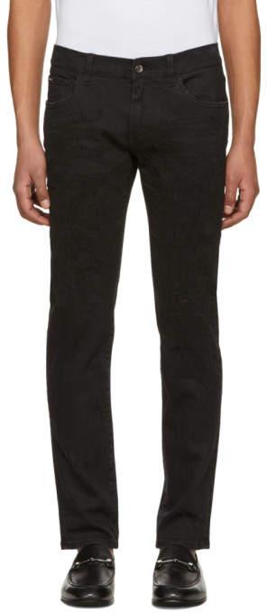 Dolce & Gabbana Black Heavy Distressed Skinny Jeans