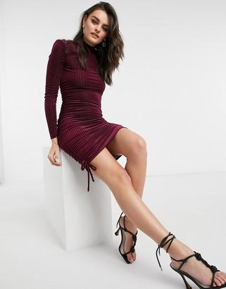 ASOS DESIGN padded shoulder velvet rib strappy back mini dress in oxblood