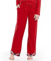 Sleep Sense Petite Flannel-Trimmed Jersey Sleep Pants