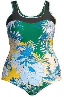 Marina Rinaldi, Plus Size Sport 2 Sagoma Floral One-Piece Swimsuit