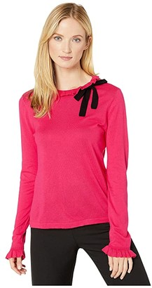 CeCe Long Sleeve Ruffled Sweater with Bow (Ruby Blush) Women's Sweater
