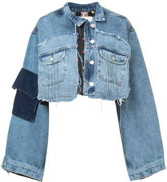 Natasha Zinko Mixed Crop Denim Jacket