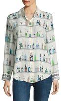 Equipment Essential Bottle Printed Silk Shirt