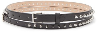 Alexander McQueen Doubled Studded Leather Wallet Belt - Black Silver