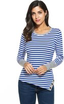 Meaneor Women's Soft Crewneck 3/4 Sleeve Trim Asymmetrical Tee Shirt Tunic Tops Blue/M