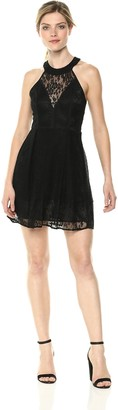 BCBGeneration Women's LACE Paneled FIT & Flare Dress