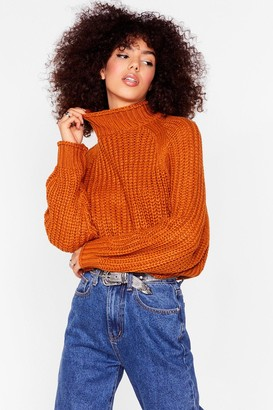Nasty Gal Womens Stay With Knit Ribbed Turtleneck Jumper - Orange - XS
