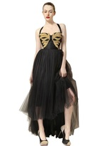 Maria Lucia Hohan Chain Embroidered Tulle Long Dress