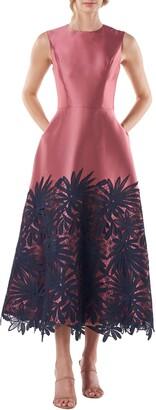 Kay Unger Ivy Lace Applique Cocktail Dress