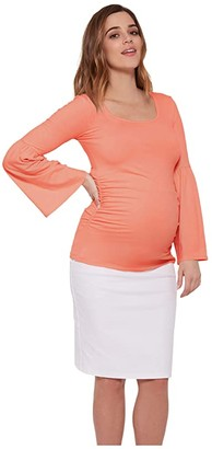 Stowaway Collection Maternity Maternity Bell Sleeve Top (Coral) Women's Clothing