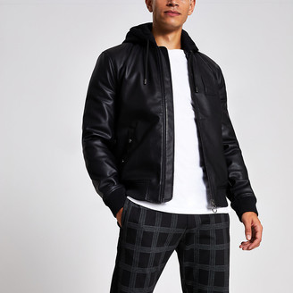 River Island Black faux leather hooded bomber jacket
