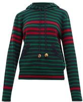 Wales Bonner Striped Wool-blend Hooded Sweater - Womens - Navy Multi