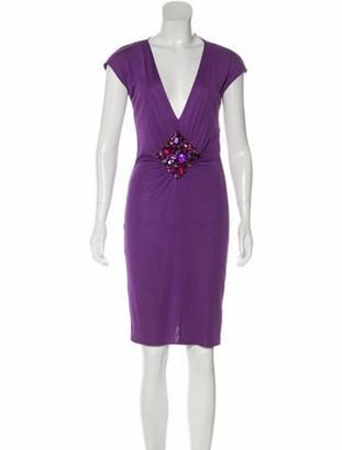 Dolce & Gabbana Embellished Knee-Length Dress Violet
