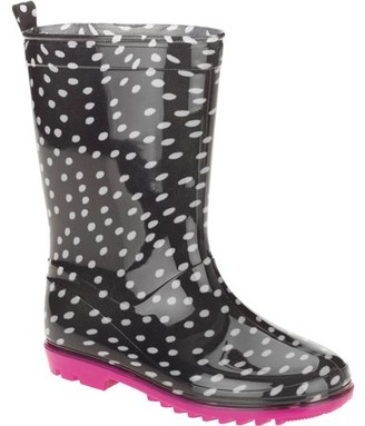 Capelli New York One Color Dots Printed Girls' Jelly Rain Boots