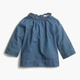 J.Crew Girls' indigo chambray ruffle-neck top
