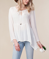 Off-White Sheer Lace Ruffle Keyhole Top