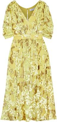 Prabal Gurung Button-embellished Metallic Fil Coupe Chiffon Dress