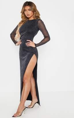 PrettyLittleThing Black Glitter Backless Long Sleeve Maxi Dress