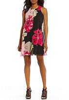 Calvin Klein Floral Printed Chiffon Inverted Front Pleat A-Line Dress