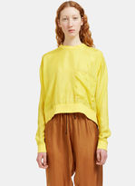 Von Sono Women's Oversized Cropped Silk Top in Yellow