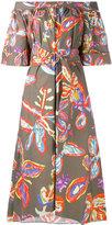 Peter Pilotto graphic floral bardot dress - women - Cotton/Spandex/Elastane - 6