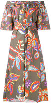 Peter Pilotto graphic floral bardot dress - women - Cotton/Spandex/Elastane - 8
