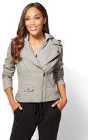 New York & Co. Layered Faux Leather Moto Jacket