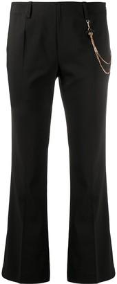 Liu Jo Chain-Detail Cropped Flared Trousers