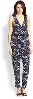 Suarez Silk Rose-Print Jumpsuit