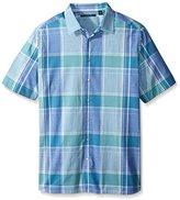 Perry Ellis Men's Big and Chambray Plaid Shirt