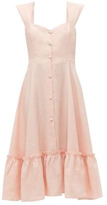 Gioia Bini Camilla Ruffle-trimmed Linen Dress - Womens - Pink