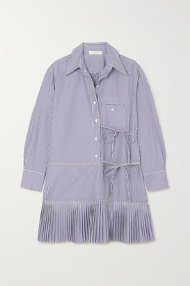 Chloé Pleated Striped Cotton-poplin Mini Dress - Blue