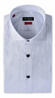 Roy Robson Men's Herren Hemd aus Baumwolle Slim Fit Langarm Bugelleicht Casual Business Shirt