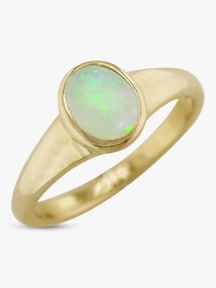 E.W Adams 9ct Yellow Gold Oval Ring, Opal