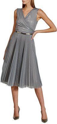 Ralph Lauren Collection Maegan Embellished Fit-&-Flare Pleated Midi Dress