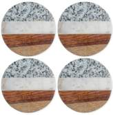 Thirstystone 4-Pc. Granite, Marble and Wood Round Coaster Set