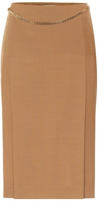 Victoria Beckham Belted virgin wool pencil skirt