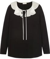 Saint Laurent Ruffled Silk Crepe De Chine Blouse - Black
