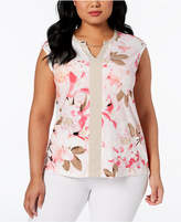 Calvin Klein Plus Size Printed Chain-Neck Top