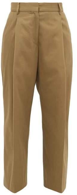 Margaret Howell High-rise Cotton-blend Wide-leg Trousers - Womens - Khaki