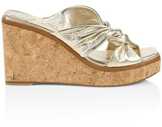 Jimmy Choo Narisa Metallic Leather Platform Wedge Mules