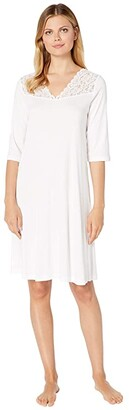 Hanro Moments 3/4 Sleeve Gown (White) Women's Pajama