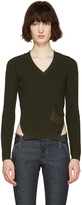 DSQUARED2 Green V-Neck Pocket Sweater