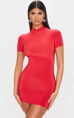 PrettyLittleThing Red Slinky Short Sleeve High Neck Bodycon Dress